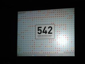 今までに宇宙に行った事のある人は542人